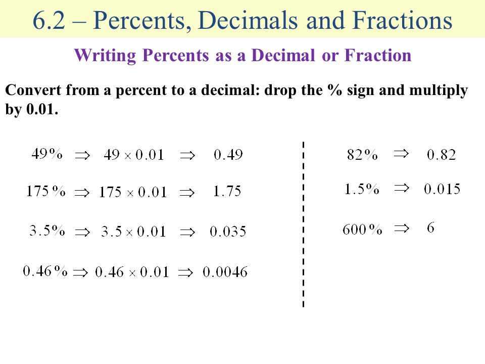 6.2 – Percents, Decimals and Fractions Writing Percents as a Decimal or Fraction Convert from a percent to a decimal: drop the % sign and multiply by 0.01.