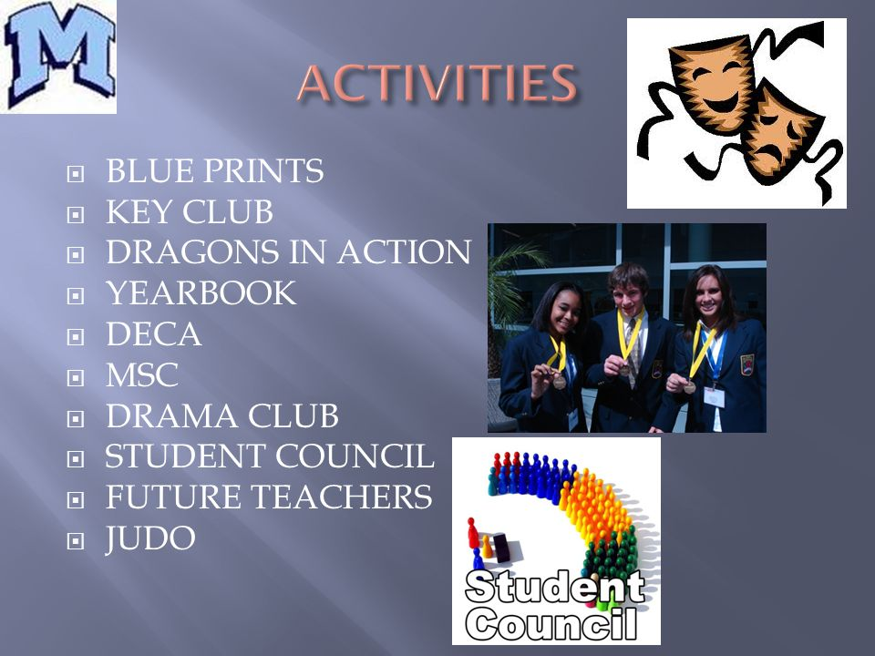  BLUE PRINTS  KEY CLUB  DRAGONS IN ACTION  YEARBOOK  DECA  MSC  DRAMA CLUB  STUDENT COUNCIL  FUTURE TEACHERS  JUDO