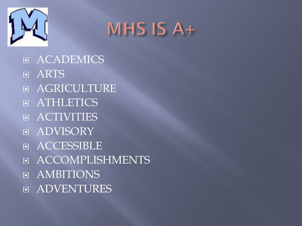  ACADEMICS  ARTS  AGRICULTURE  ATHLETICS  ACTIVITIES  ADVISORY  ACCESSIBLE  ACCOMPLISHMENTS  AMBITIONS  ADVENTURES