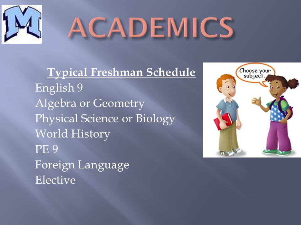 Typical Freshman Schedule English 9 Algebra or Geometry Physical Science or Biology World History PE 9 Foreign Language Elective