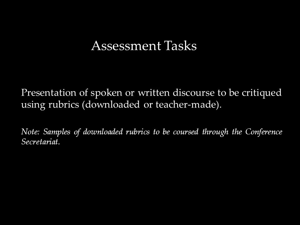 Presentation of spoken or written discourse to be critiqued using rubrics (downloaded or teacher-made).