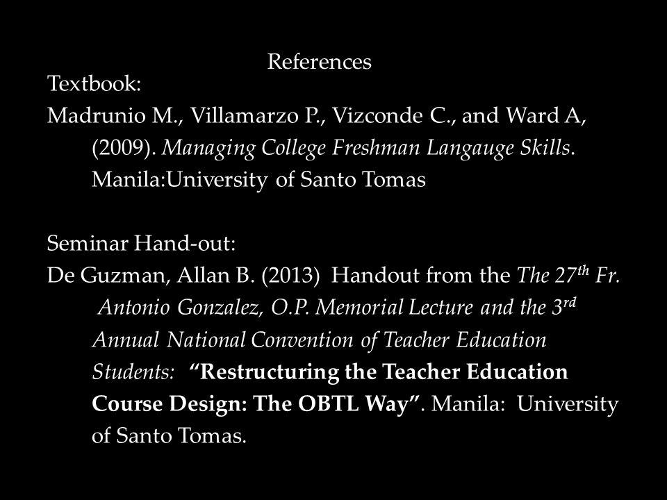 Textbook: Madrunio M., Villamarzo P., Vizconde C., and Ward A, (2009).