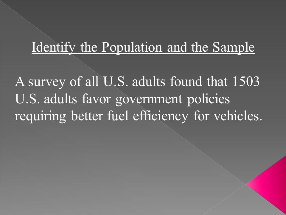 Identify the Population and the Sample A survey of all U.S. adults found that 1503 U.S. adults favor government policies requiring better fuel efficie