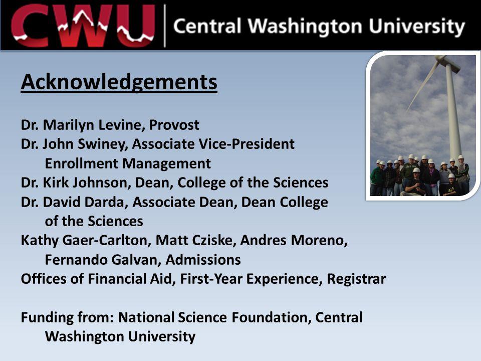 Central Washington University STEP Acknowledgements Dr. Marilyn Levine, Provost Dr. John Swiney, Associate Vice-President Enrollment Management Dr. Ki