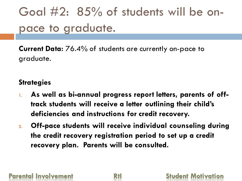 Goal #3: 100% of Freshman and Sophomores will be on-track to graduate.