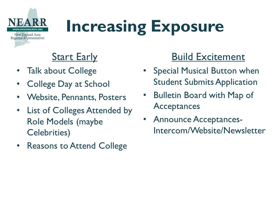 Increasing Exposure Start Early Talk about College College Day at School Website, Pennants, Posters List of Colleges Attended by Role Models (maybe Celebrities) Reasons to Attend College Build Excitement Special Musical Button when Student Submits Application Bulletin Board with Map of Acceptances Announce Acceptances- Intercom/Website/Newsletter