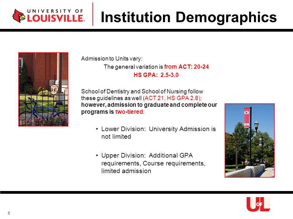 Institution Demographics Admission to Units vary: The general variation is from ACT: 20-24 HS GPA: 2.5-3.0 School of Dentistry and School of Nursing follow these guidelines as well (ACT 21, HS GPA 2.8); however, admission to graduate and complete our programs is two-tiered: Lower Division: University Admission is not limited Upper Division: Additional GPA requirements, Course requirements, limited admission 5