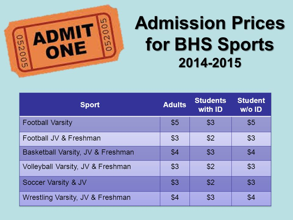 Admission Prices for BHS Sports 2014-2015