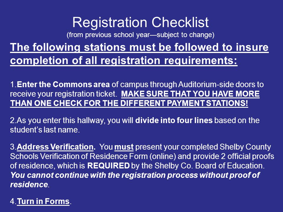 The following stations must be followed to insure completion of all registration requirements: 1.Enter the Commons area of campus through Auditorium-s