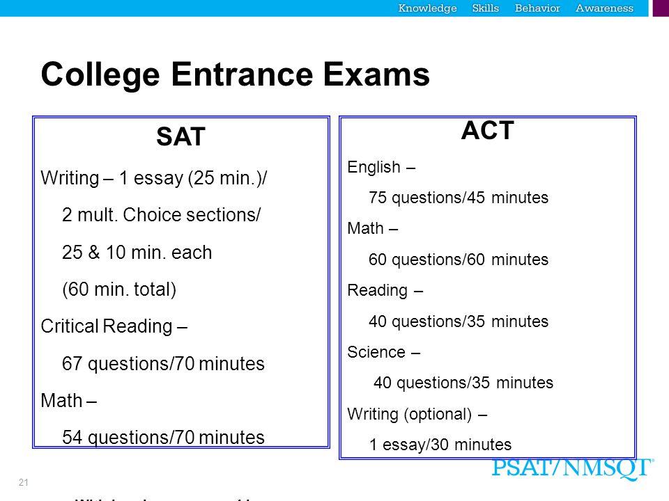 21 College Entrance Exams SAT Writing – 1 essay (25 min.)/ 2 mult.