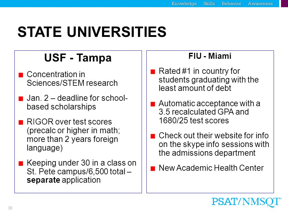 30 STATE UNIVERSITIES USF - Tampa Concentration in Sciences/STEM research Jan.