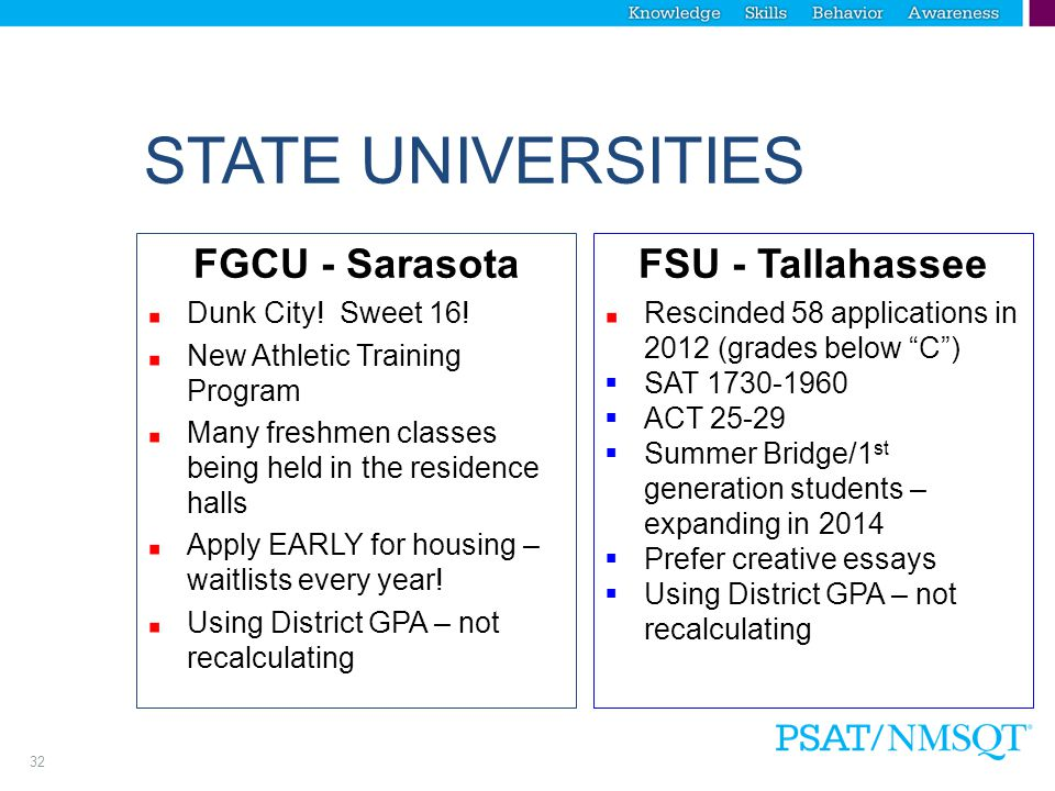 31 STATE UNIVERSITIES UF - Gainesville Innovation Academy – wholistic evaluation 60% based on academics (3.9 GPA/1400 SAT/2-3 AP classes; strength of senior schedule) 40% based on activities, essays, etc.