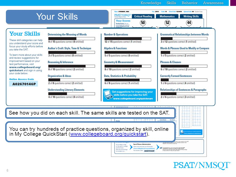 5 Estimated SAT Scores  Use PSAT Scale  Add a zero to the score  PSAT Scale of 20 – 80 is equivalent to SAT estimates of 200 – 800 per section