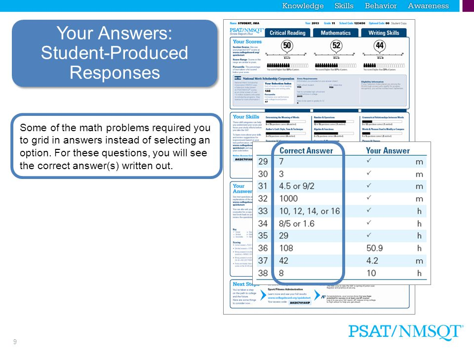 8 Your Answers You will get your test book back with your PSAT/NMSQT results, so that you can review the questions.