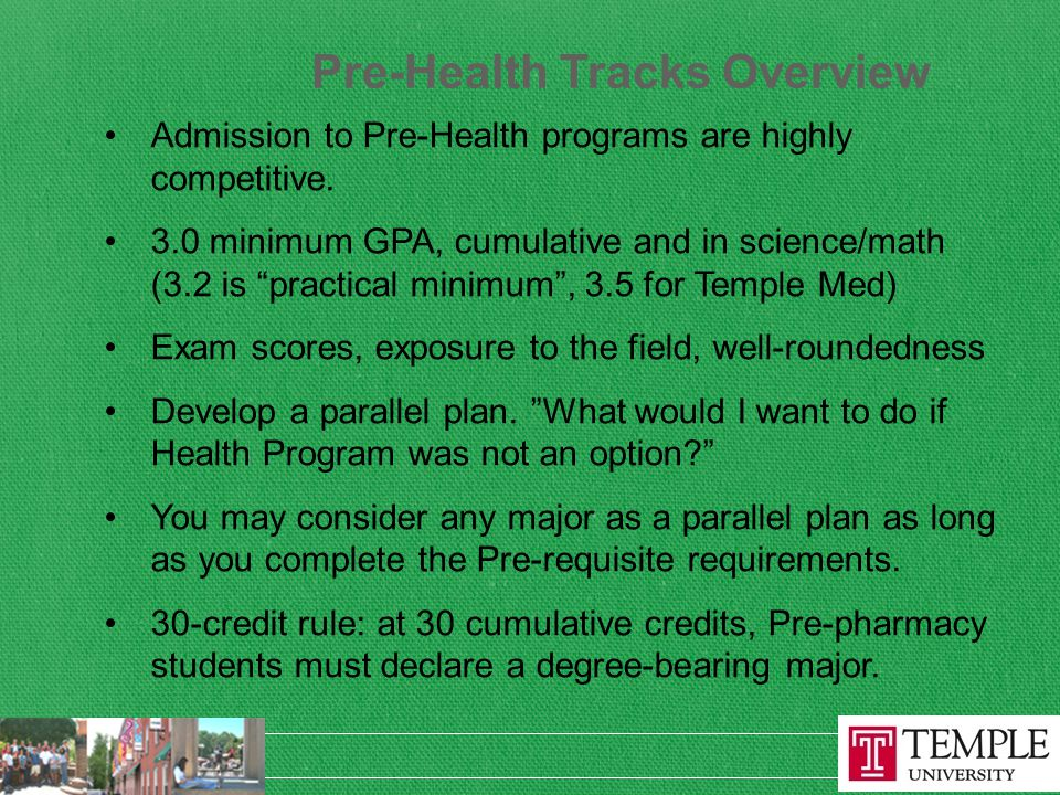 Pre-Health Tracks Overview Admission to Pre-Health programs are highly competitive.
