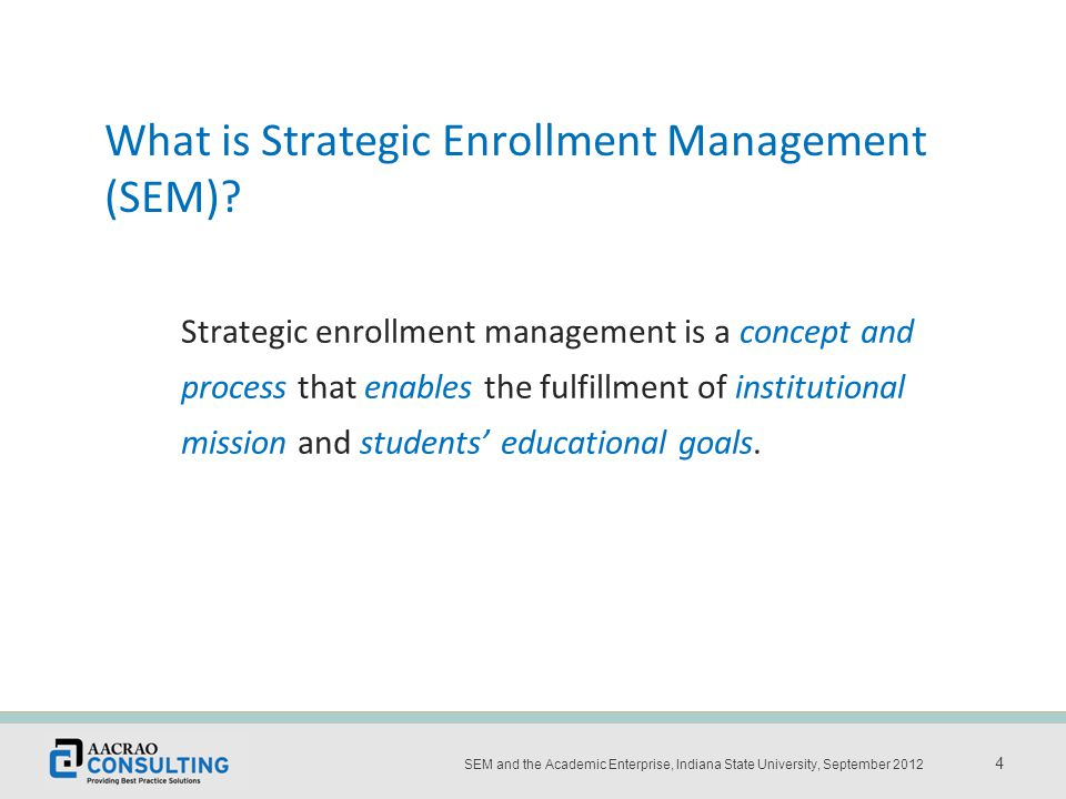 Place the title and date of the presentation here 4 SEM and the Academic Enterprise, Indiana State University, September 2012 4 Strategic enrollment management is a concept and process that enables the fulfillment of institutional mission and students' educational goals.