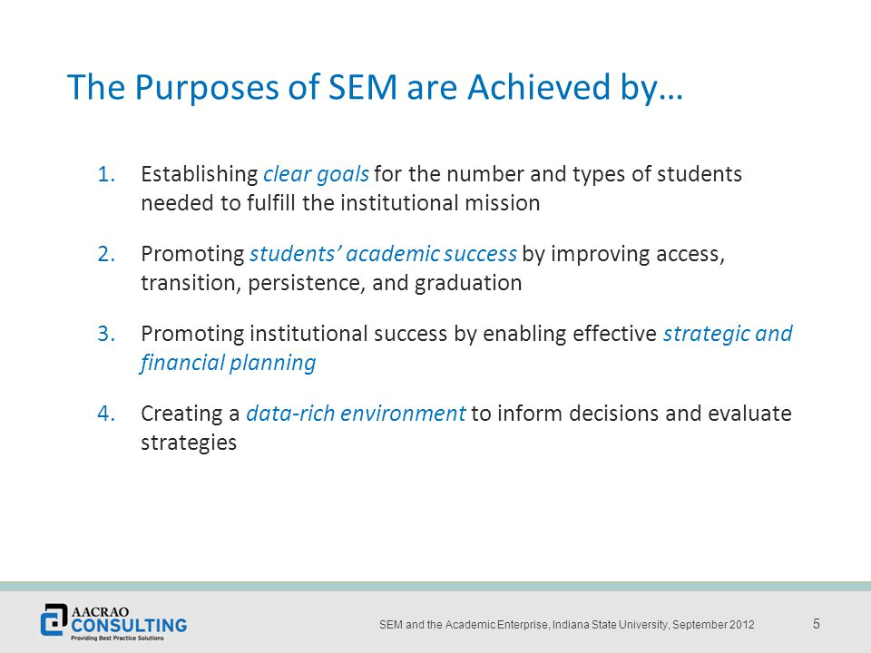 Place the title and date of the presentation here 5 SEM and the Academic Enterprise, Indiana State University, September 2012 5 The Purposes of SEM are Achieved by… 1.Establishing clear goals for the number and types of students needed to fulfill the institutional mission 2.Promoting students' academic success by improving access, transition, persistence, and graduation 3.Promoting institutional success by enabling effective strategic and financial planning 4.Creating a data-rich environment to inform decisions and evaluate strategies