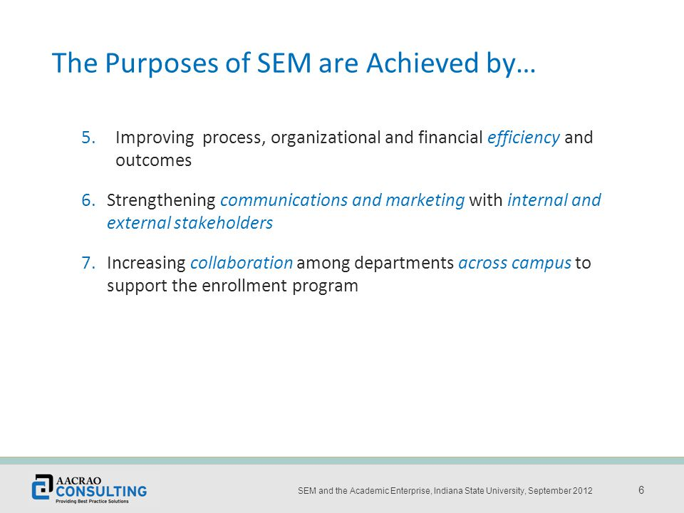 Place the title and date of the presentation here 6 SEM and the Academic Enterprise, Indiana State University, September 2012 6 5.Improving process, organizational and financial efficiency and outcomes 6.Strengthening communications and marketing with internal and external stakeholders 7.Increasing collaboration among departments across campus to support the enrollment program The Purposes of SEM are Achieved by…