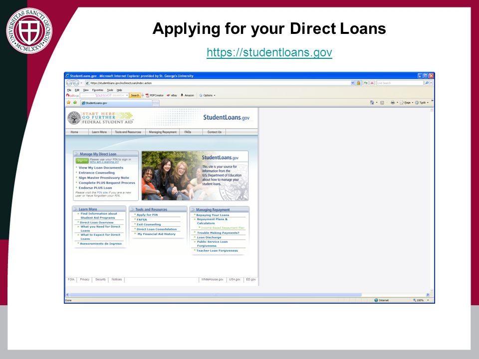 Direct Stafford Subsidized Loan -Qualification based on need and determined by FAFSA information - 6.8% Fixed interest rate - 0.5% net origination fee