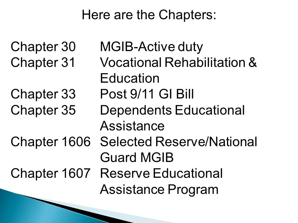 Here are the Chapters: Chapter 30MGIB-Active duty Chapter 31Vocational Rehabilitation & Education Chapter 33Post 9/11 GI Bill Chapter 35Dependents Educational Assistance Chapter 1606Selected Reserve/National Guard MGIB Chapter 1607Reserve Educational Assistance Program