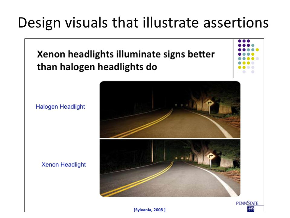 Design visuals that illustrate assertions