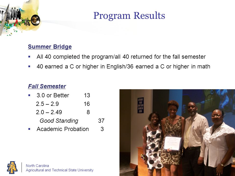 North Carolina Agricultural and Technical State University Program Results Summer Bridge  All 40 completed the program/all 40 returned for the fall s