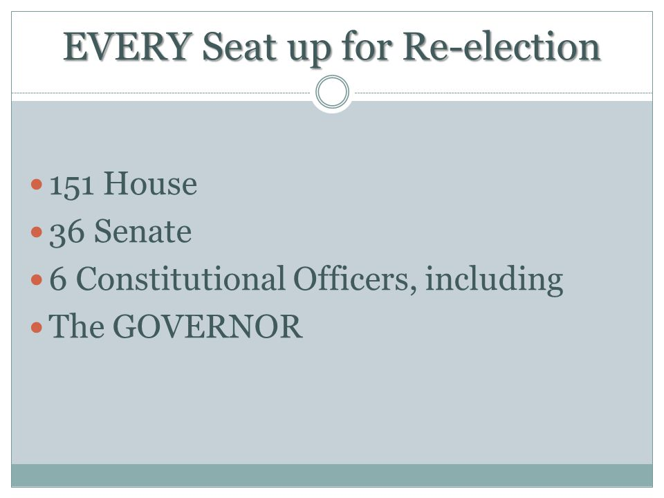 EVERY Seat up for Re-election 151 House 36 Senate 6 Constitutional Officers, including The GOVERNOR