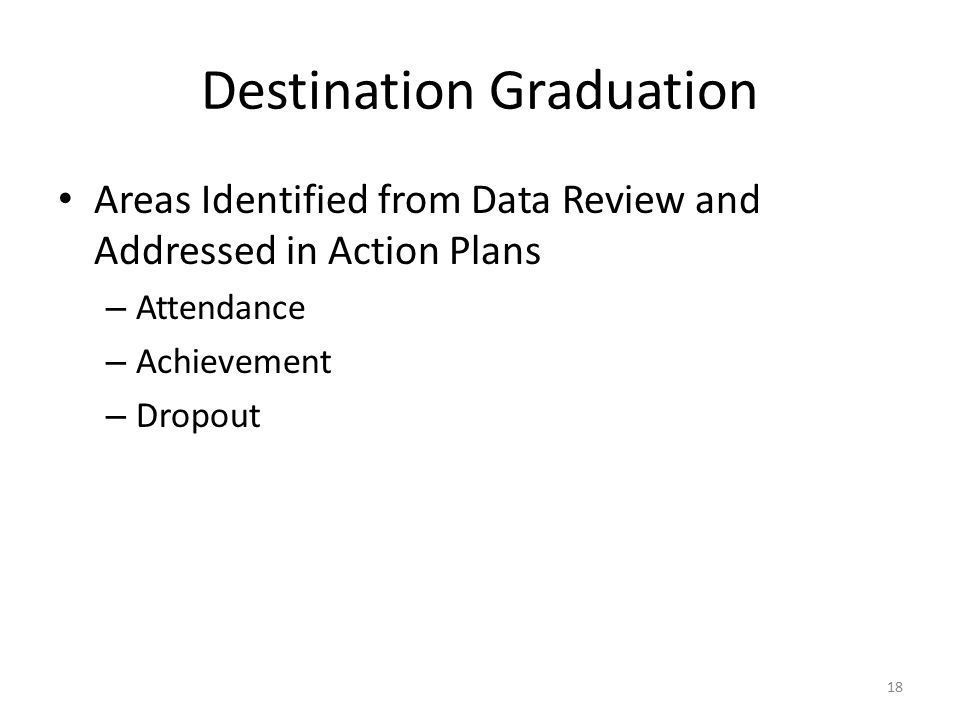 Destination Graduation Areas Identified from Data Review and Addressed in Action Plans – Attendance – Achievement – Dropout 18