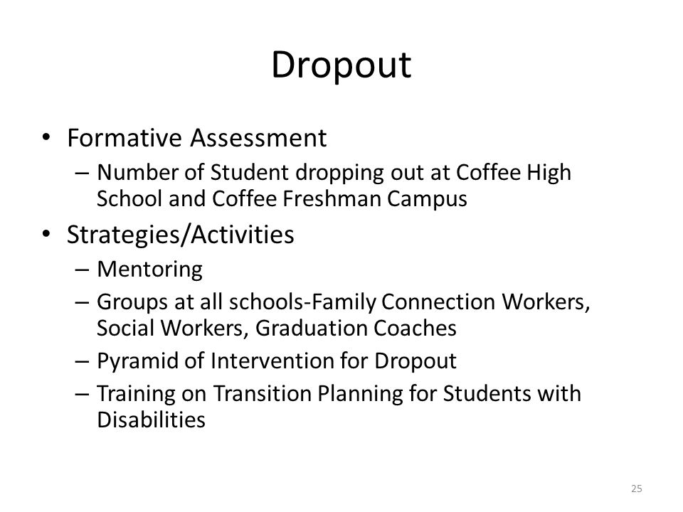 Dropout Formative Assessment – Number of Student dropping out at Coffee High School and Coffee Freshman Campus Strategies/Activities – Mentoring – Groups at all schools-Family Connection Workers, Social Workers, Graduation Coaches – Pyramid of Intervention for Dropout – Training on Transition Planning for Students with Disabilities 25
