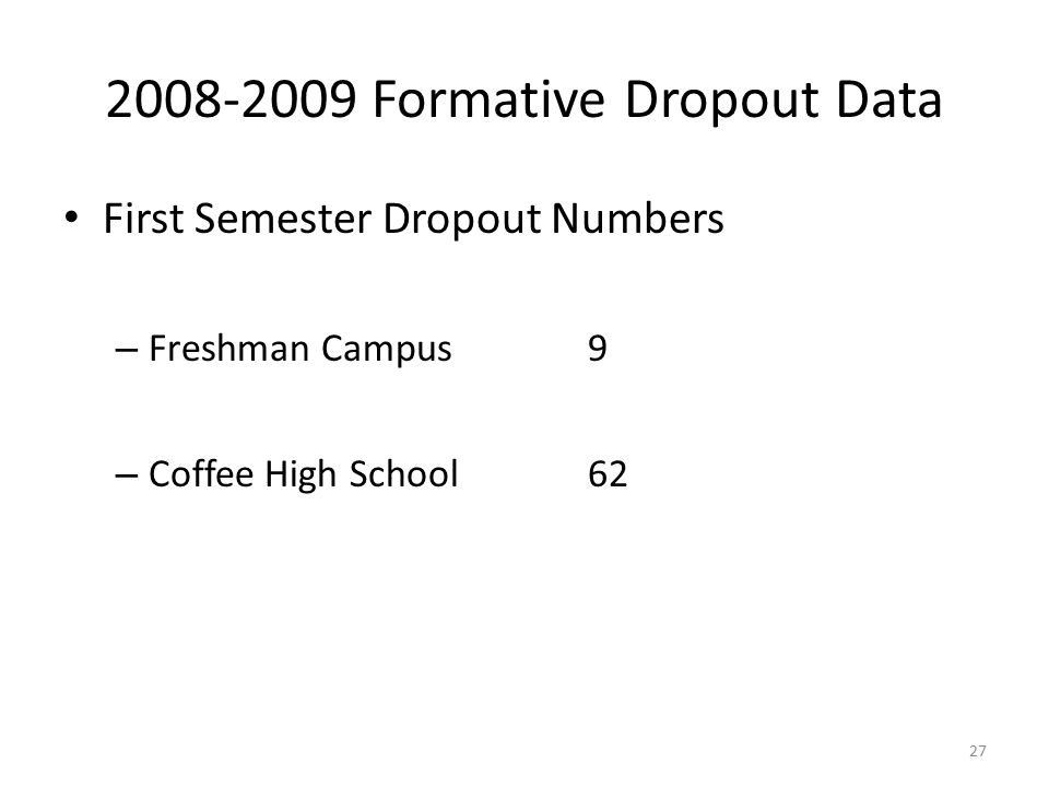 2008-2009 Formative Dropout Data First Semester Dropout Numbers – Freshman Campus9 – Coffee High School62 27