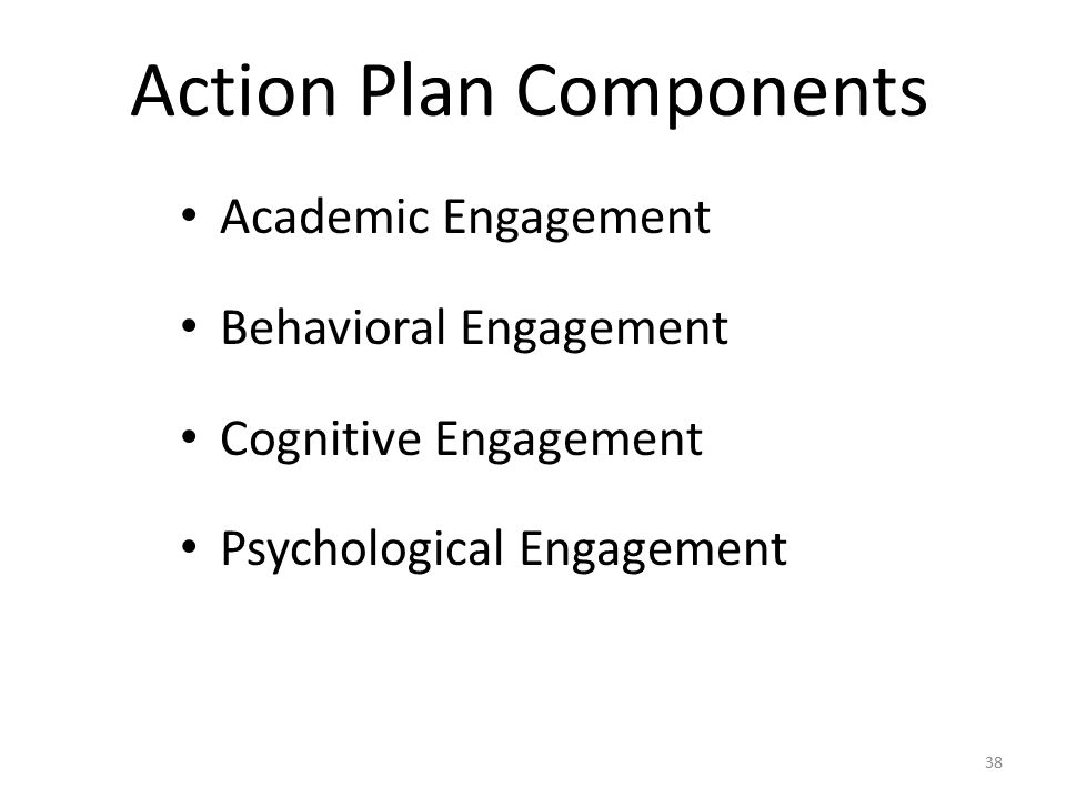 Action Plan Components Academic Engagement Behavioral Engagement Cognitive Engagement Psychological Engagement 38