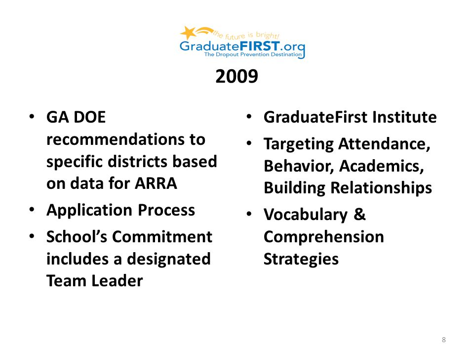 2009 GA DOE recommendations to specific districts based on data for ARRA Application Process School's Commitment includes a designated Team Leader GraduateFirst Institute Targeting Attendance, Behavior, Academics, Building Relationships Vocabulary & Comprehension Strategies 8