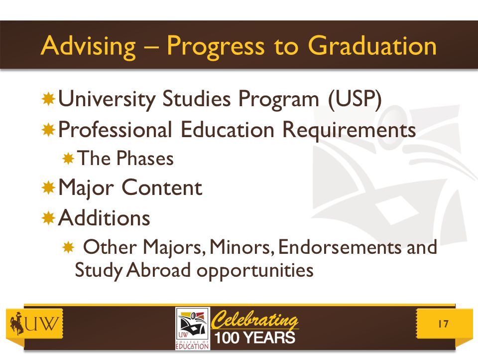 Advising – Progress to Graduation  University Studies Program (USP)  Professional Education Requirements  The Phases  Major Content  Additions 