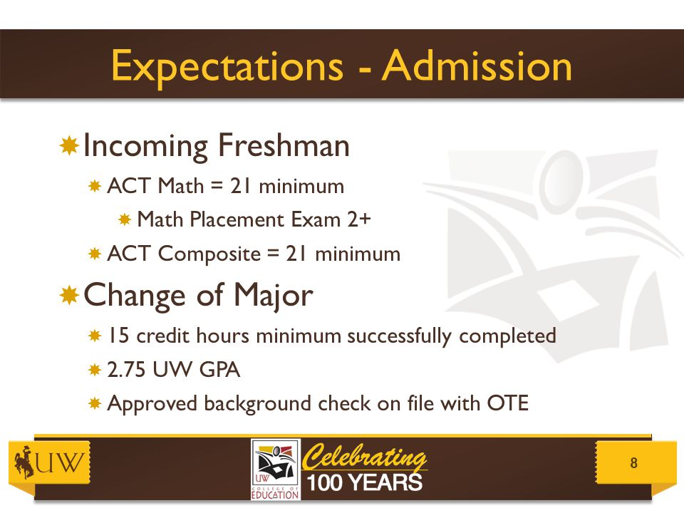 Expectations – Background Check Background ChecksLegal Records 9  Wyoming Division of Criminal Investigation  Wyoming Department of Family Services  $50 total  $40 for the processing  $10 for fingerprinting through the UW Police Department  MUST be complete prior to start of the fall semester  Legal Records can cause student teaching placement problems.