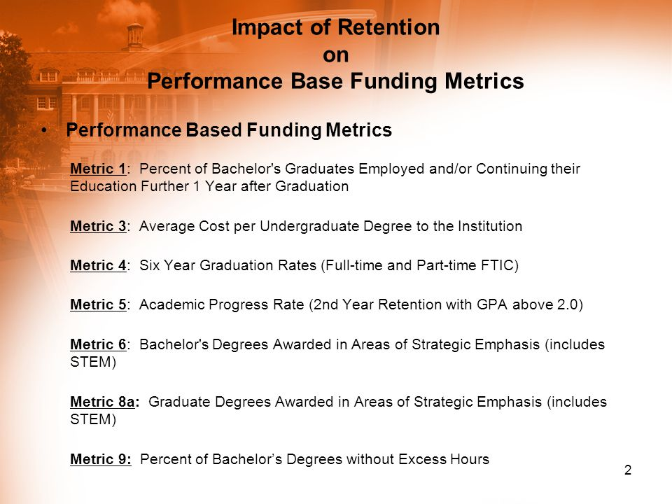 Impact of Retention on Performance Base Funding Metrics Performance Based Funding Metrics Metric 1: Percent of Bachelor's Graduates Employed and/or Co