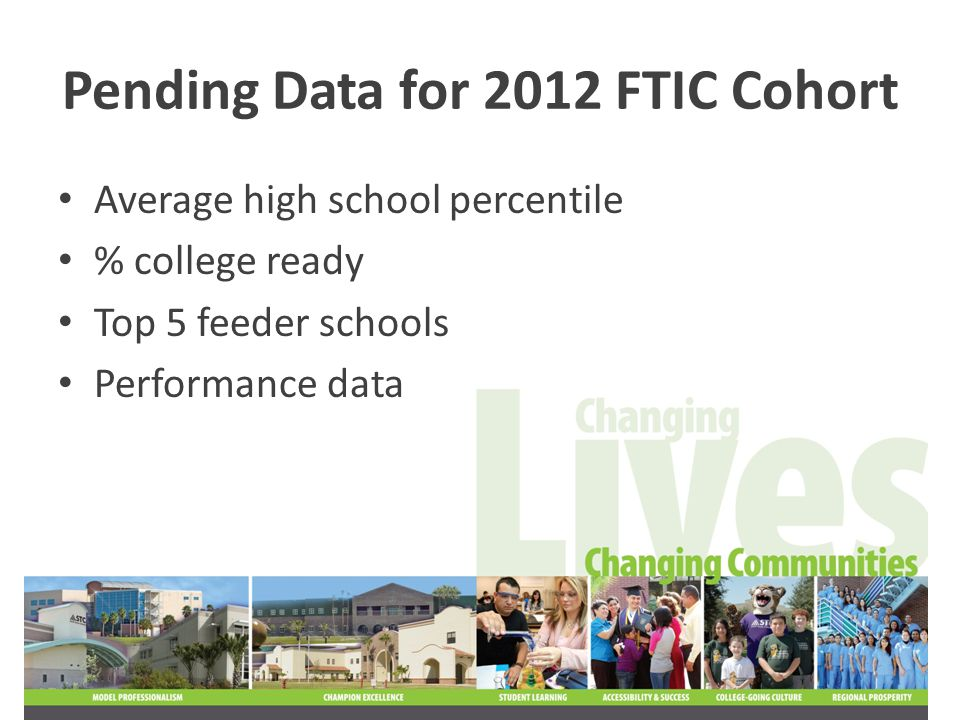 Pending Data for 2012 FTIC Cohort Average high school percentile % college ready Top 5 feeder schools Performance data