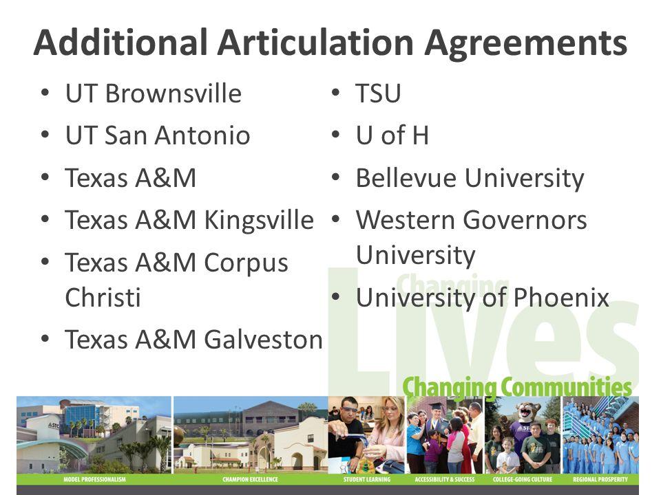 Additional Articulation Agreements UT Brownsville UT San Antonio Texas A&M Texas A&M Kingsville Texas A&M Corpus Christi Texas A&M Galveston TSU U of H Bellevue University Western Governors University University of Phoenix