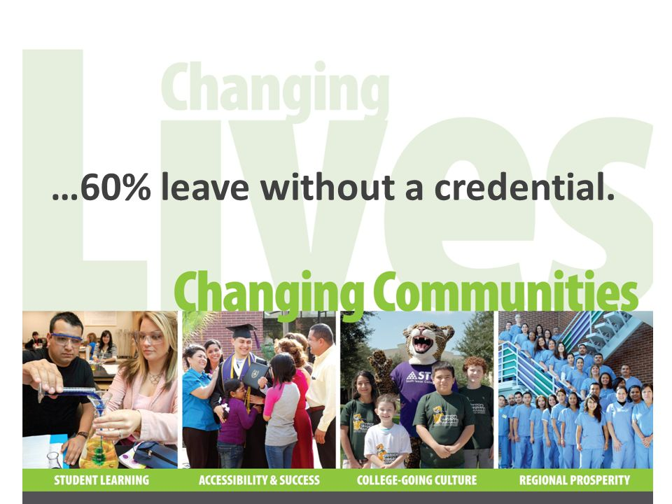 …60% leave without a credential.