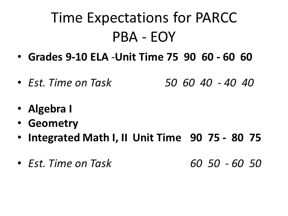 Time Expectations for PARCC PBA - EOY Grades 9-10 ELA -Unit Time 75 90 60 - 60 60 Est.