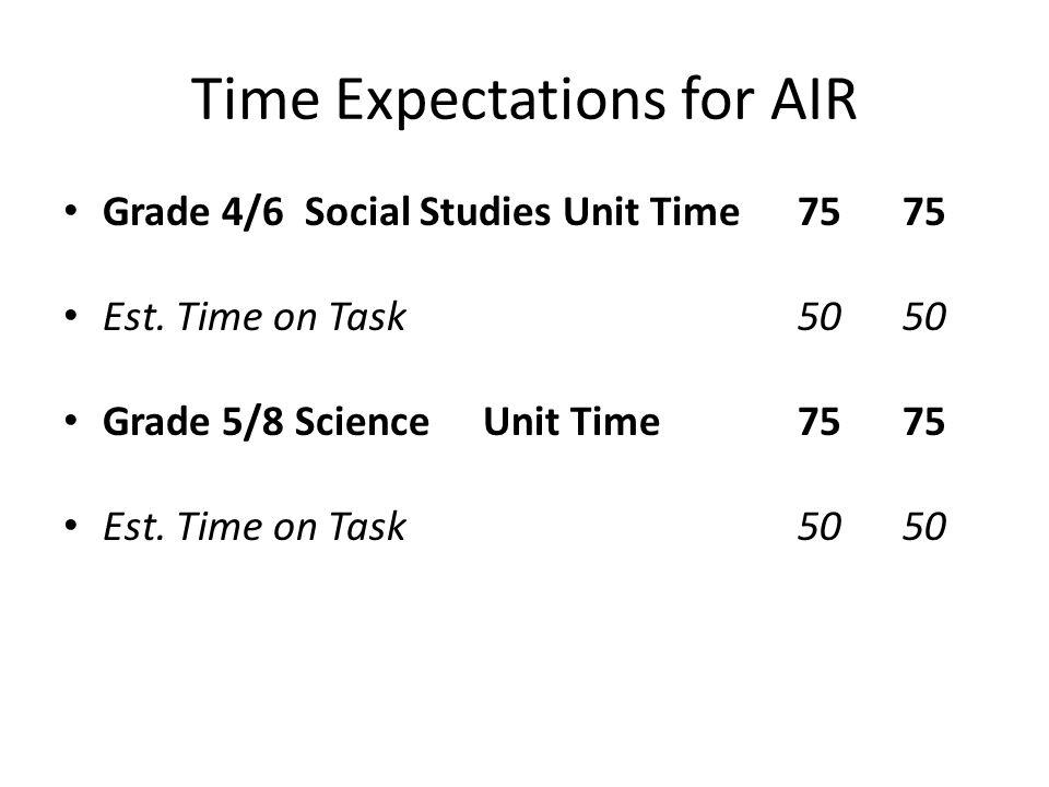 Time Expectations for AIR Grade 4/6 Social Studies Unit Time 75 75 Est.