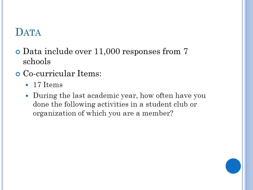 D ATA Data include over 11,000 responses from 7 schools Co-curricular Items: 17 Items During the last academic year, how often have you done the following activities in a student club or organization of which you are a member