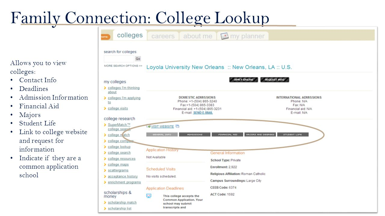 Family Connection: College Lookup Allows you to view colleges: Contact Info Deadlines Admission Information Financial Aid Majors Student Life Link to college website and request for information Indicate if they are a common application school