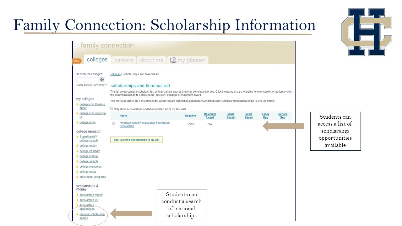 Family Connection: Scholarship Information Students can access a list of scholarship opportunities available Students can conduct a search of national scholarships