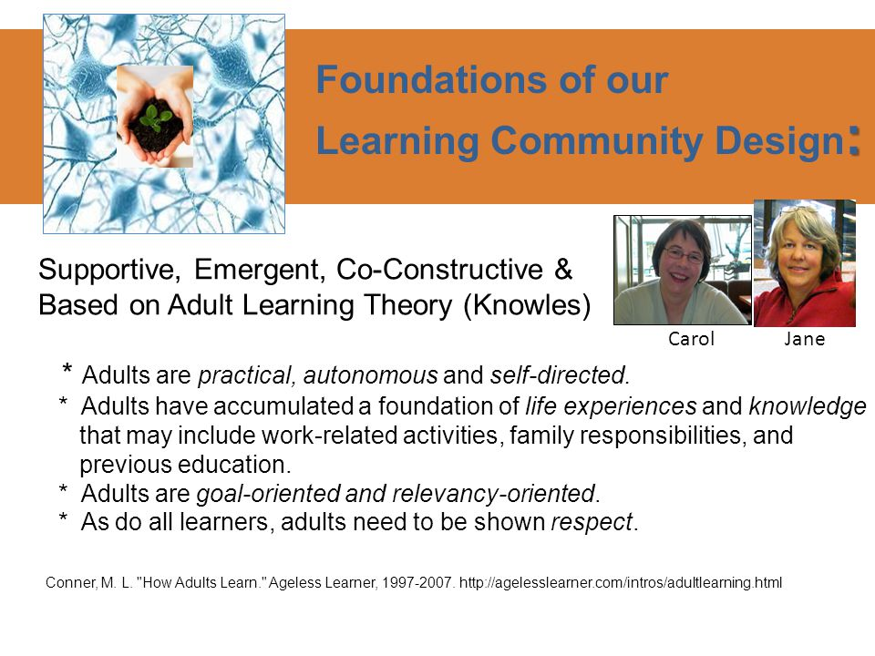 Supportive, Emergent, Co-Constructive & Based on Adult Learning Theory (Knowles) * Adults are practical, autonomous and self-directed.
