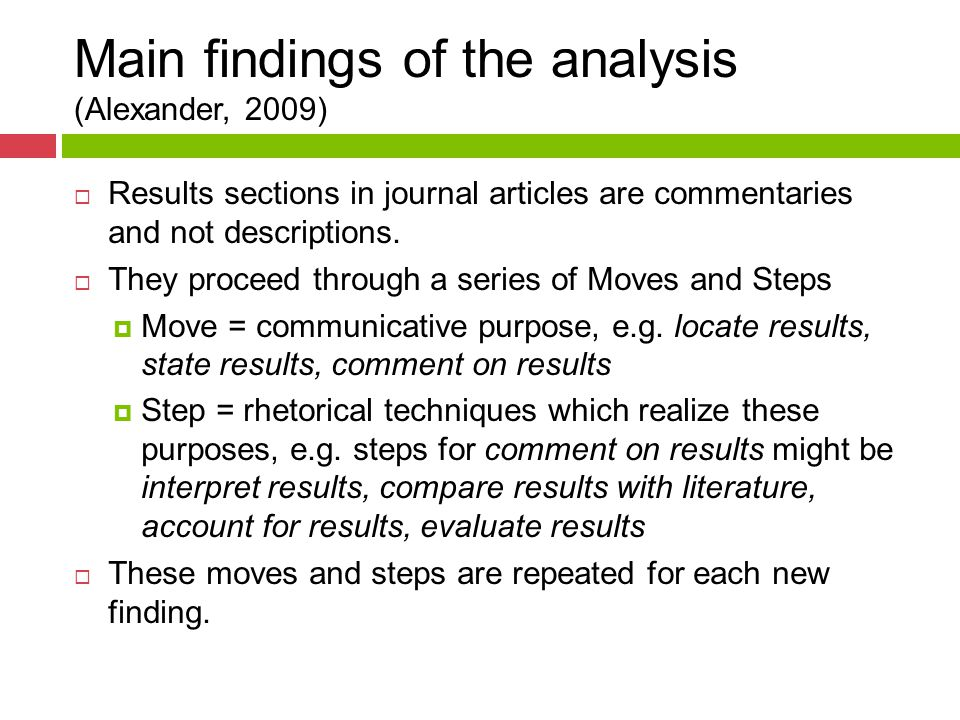 Main findings of the analysis (Alexander, 2009)  Results sections in journal articles are commentaries and not descriptions.