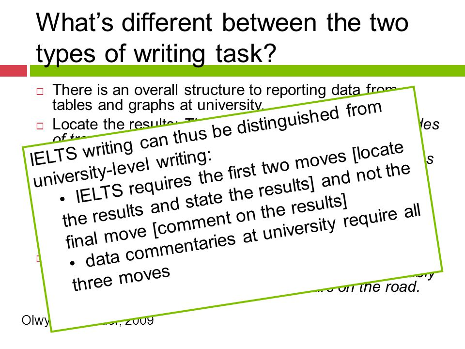 What's different between the two types of writing task?  There is an overall structure to reporting data from tables and graphs at university.  Loca