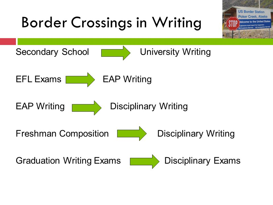 Border Crossings in Writing Secondary School University Writing EFL Exams EAP Writing EAP Writing Disciplinary Writing Freshman Composition Disciplinary Writing Graduation Writing Exams Disciplinary Exams