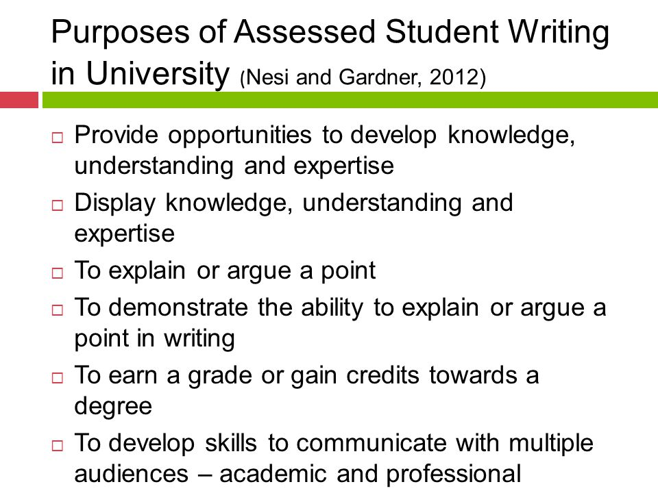 Purposes of Assessed Student Writing in University ( Nesi and Gardner, 2012)  Provide opportunities to develop knowledge, understanding and expertise  Display knowledge, understanding and expertise  To explain or argue a point  To demonstrate the ability to explain or argue a point in writing  To earn a grade or gain credits towards a degree  To develop skills to communicate with multiple audiences – academic and professional