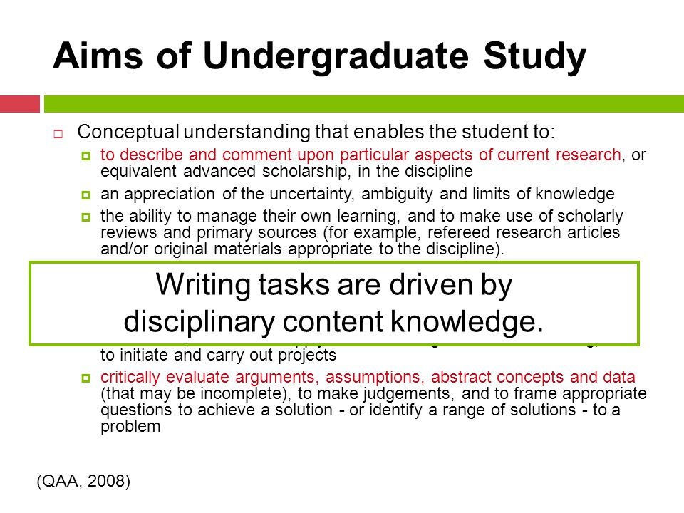 Aims of Undergraduate Study  Conceptual understanding that enables the student to:  to describe and comment upon particular aspects of current research, or equivalent advanced scholarship, in the discipline  an appreciation of the uncertainty, ambiguity and limits of knowledge  the ability to manage their own learning, and to make use of scholarly reviews and primary sources (for example, refereed research articles and/or original materials appropriate to the discipline).