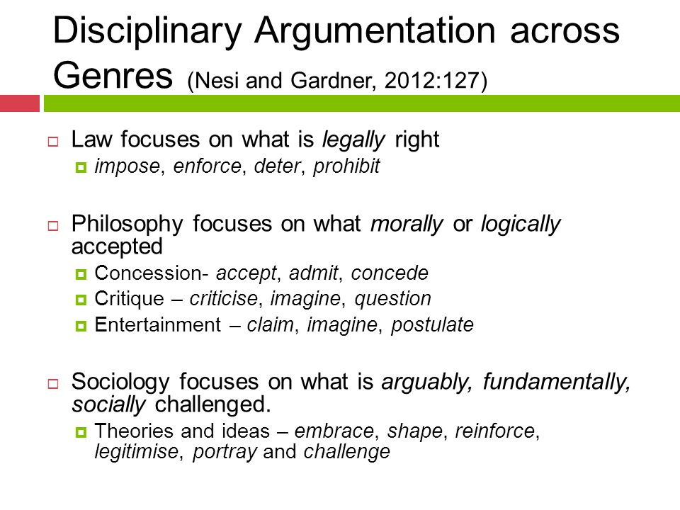 Disciplinary Argumentation across Genres (Nesi and Gardner, 2012:127)  Law focuses on what is legally right  impose, enforce, deter, prohibit  Philosophy focuses on what morally or logically accepted  Concession- accept, admit, concede  Critique – criticise, imagine, question  Entertainment – claim, imagine, postulate  Sociology focuses on what is arguably, fundamentally, socially challenged.
